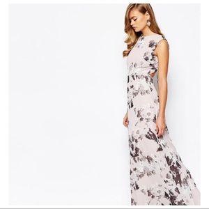 Beautiful lavender open back floral print dress